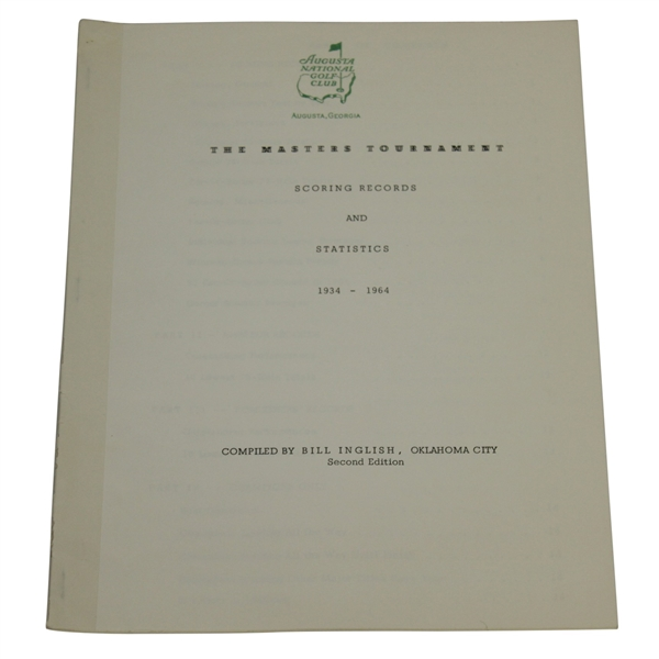 1965 Masters Tournament Scoring Records & Statistics Booklet Compiled by Bill Inglish