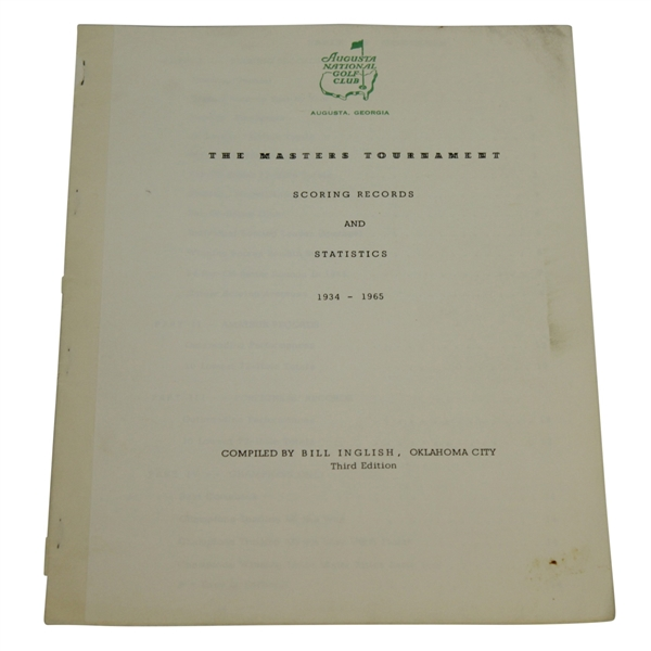 1966 Masters Tournament Scoring Records & Statistics Booklet Compiled by Bill Inglish
