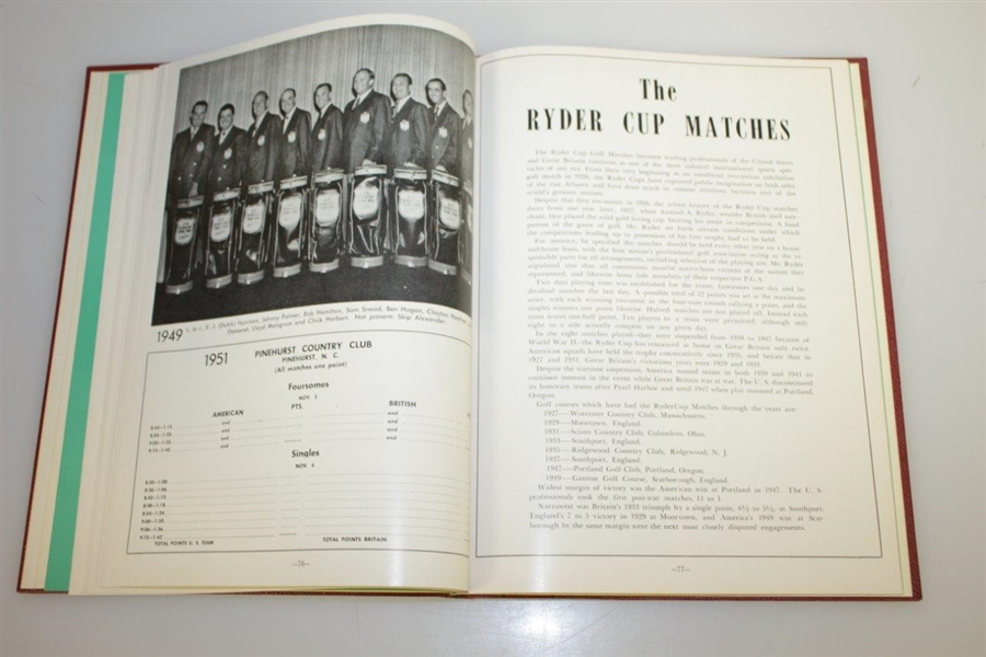 1951 The Ryder Cup at Pinehurst CC Hardcover Program - USA Winner 9 1/2 - 2 1/2