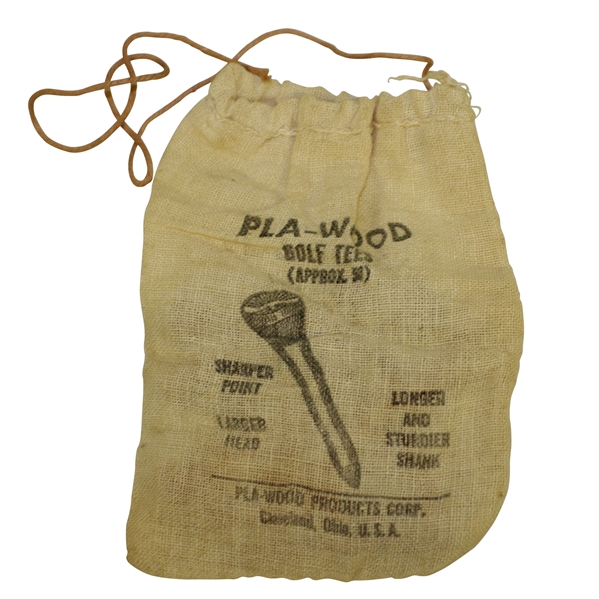 Vintage Pla-Wood Golf Tees in Canvas Bag - Pla-Wood Products - Crist Collection