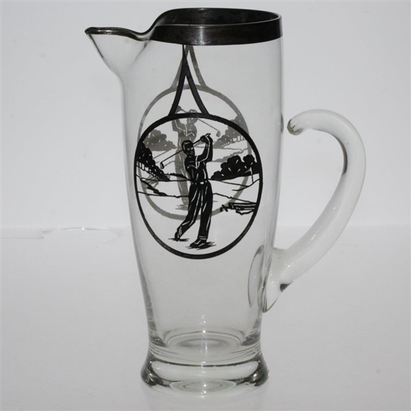 Vintage Silver Inlay Post Swing Golfers 2 Sided Glass Pitcher