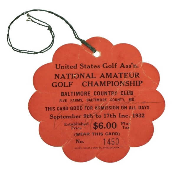 Bobby Jones( D-1971) & Johnny Goodman (D-1970) Signed 1932 U.S. Amateur CC Series Ticket PSA/DNA #AH04005
