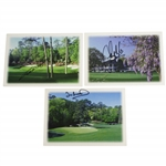 Bernhard Langer, Ian Woosnam, & Sandy Lyle Signed Augusta National Greeting Cards JSA ALOA