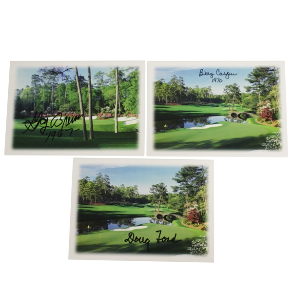 Doug Ford, Billy Casper, & Gay Brewer Signed Augusta National Greeting Cards JSA ALOA