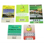 Five Masters Tickets/Badges - 1996, 1997, 1998(x2), & 2003