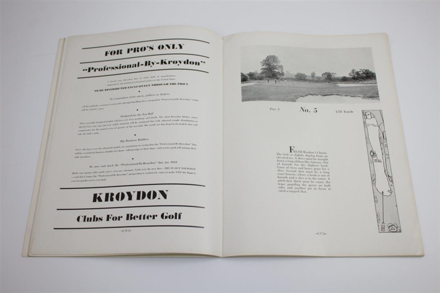 1930 PGA Championship at Fresh Meadow CC Program - Tommy Armour Winner