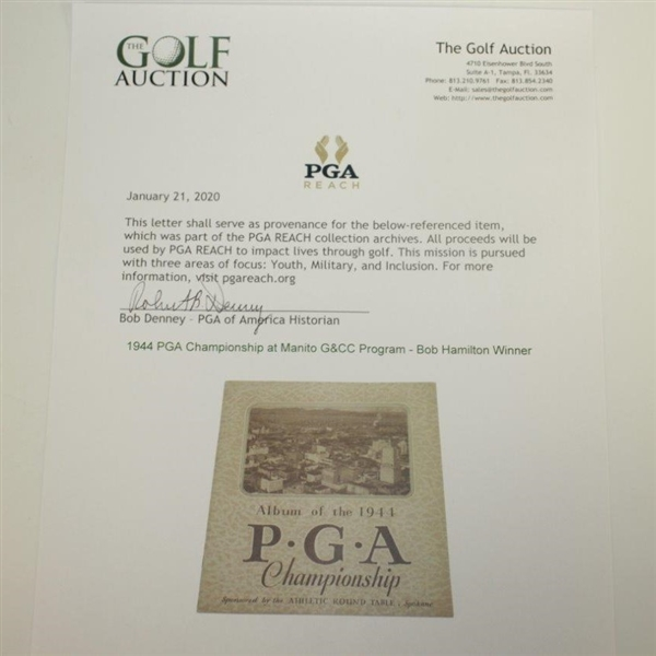 1944 PGA Championship at Manito G&CC Program - Bob Hamilton Winner