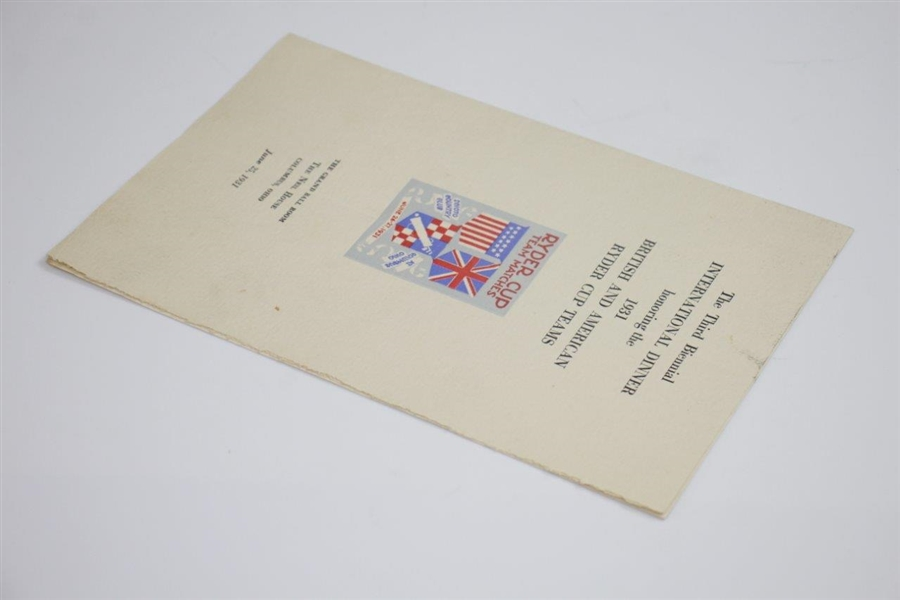 1931 Ryder Cup Dinner Menu - Robert T. Jones Jr., Whitcombe, Hagen Speakers