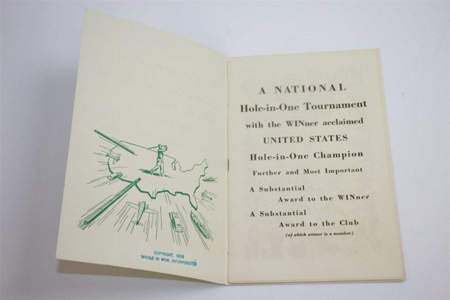 1938 National Hole-In-One Tournament Program - Great Condition