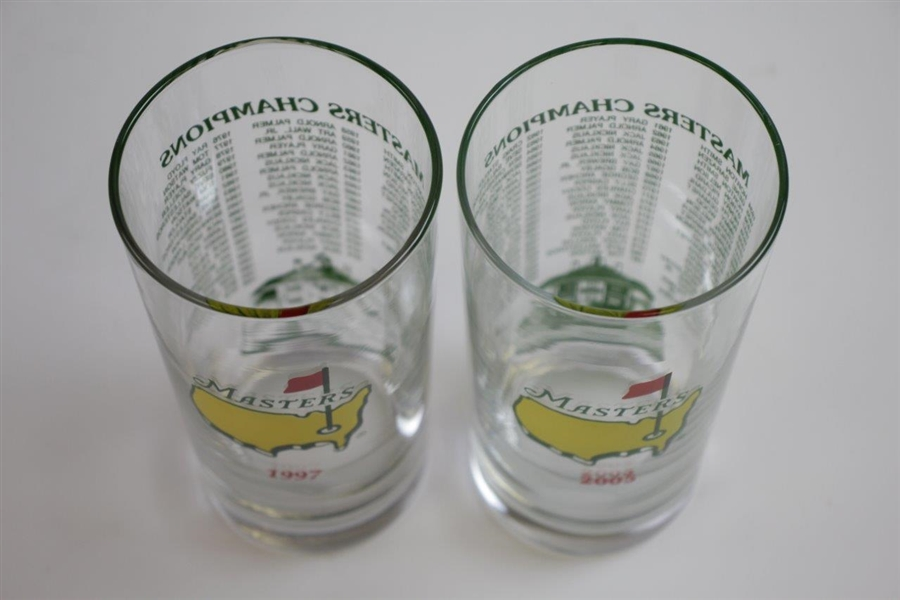 1997 & 2005 Masters Tournament Commemorative Champions Glasses - Woods Wins