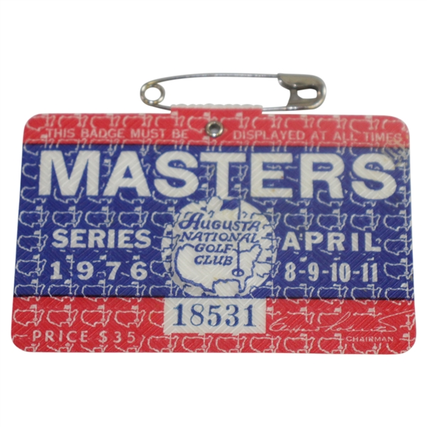 1976 Masters Tournament Series Badge #18531 - Ray Floyd Win