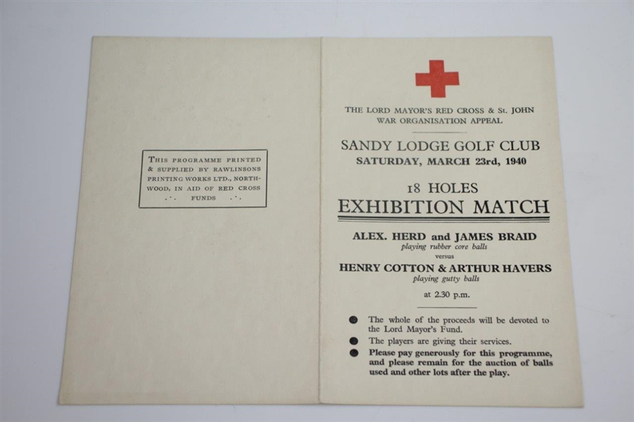 1940 Red Cross Herd/Braid vs Cotton/Havers 18 Hole Exhibition Match at Sandy Lodge GC Scorecard
