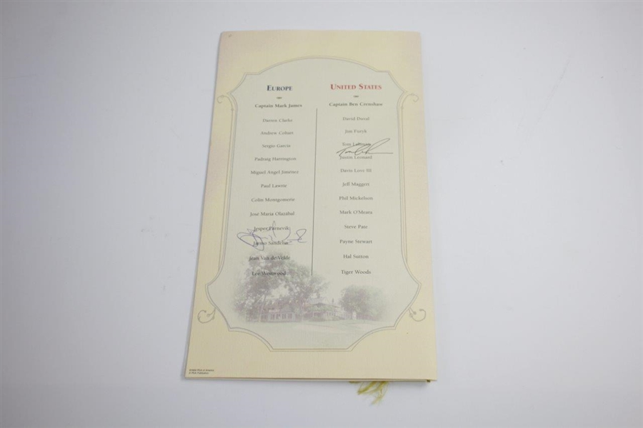 1999 Ryder Cup Welcome Dinner at Somerset Menu Signed by Lehman & Parnevik JSA ALOA