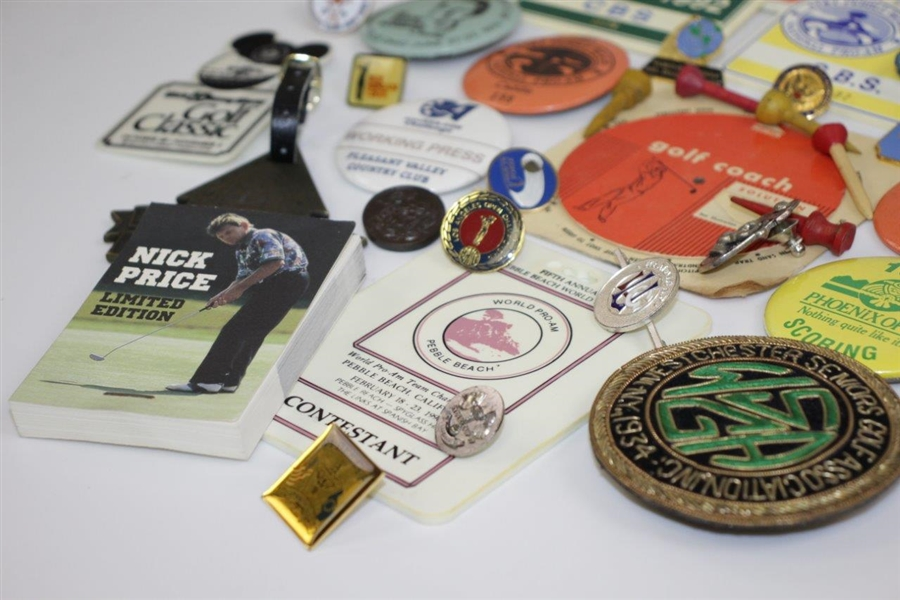 Grouping of Press Badges, Pins, Crests, Flip Book, Caddie Badges, Golf Coach Tool, and other