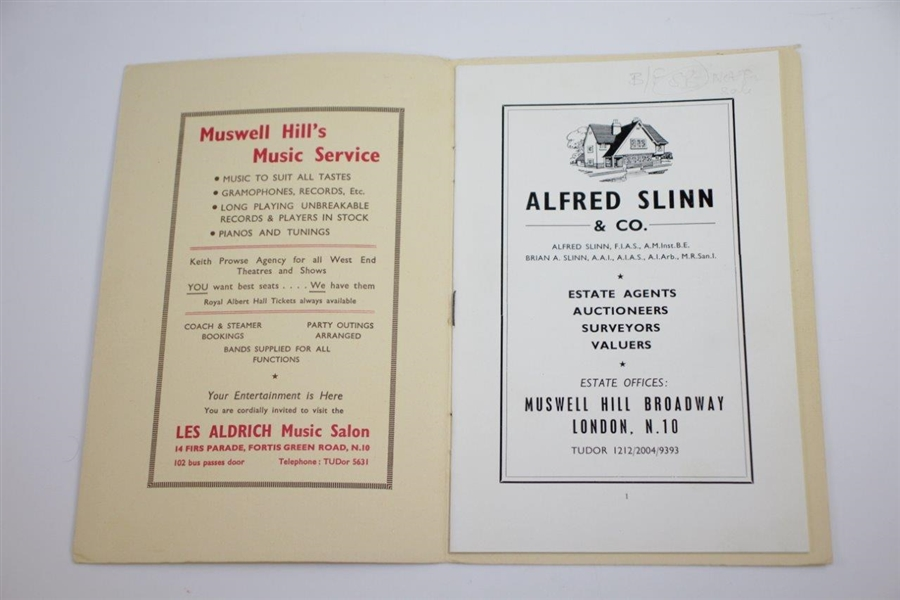 1951 Muswell Hill Golf Club Official Handbook by Robert Browning