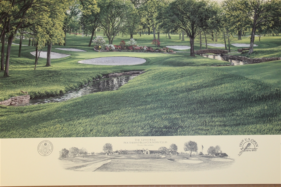 2001 Ltd Ed US Open at Southern Hills 12th Hole AP Signed by Artist Linda Hartough 85/85 with COA