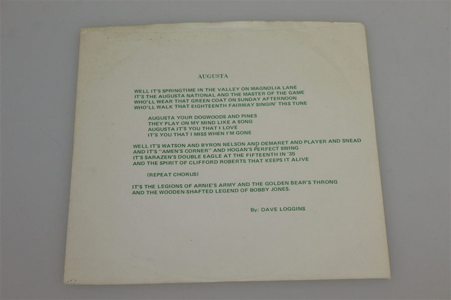 Augusta - Music to the Masters 45RPM Double-Sided Record by David Loggins - 1981