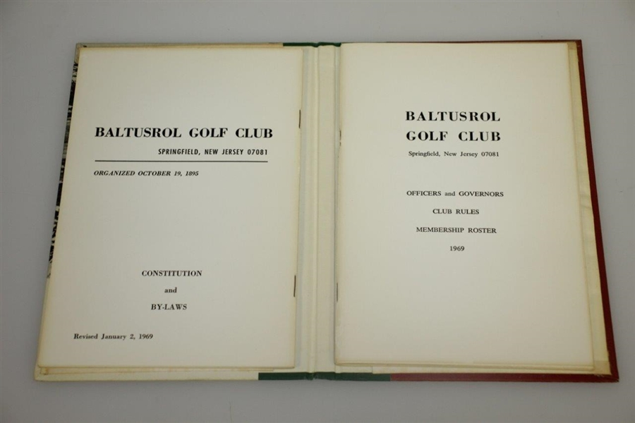 1969 Baltusrol Golf Club Hardcover Members Book