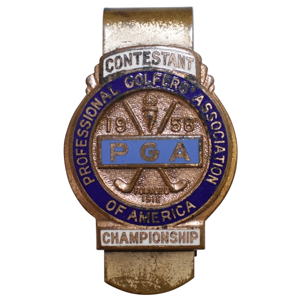 1958 PGA Championship at Llanerch CC Contestant Badge - Dow Finsterwald Winner