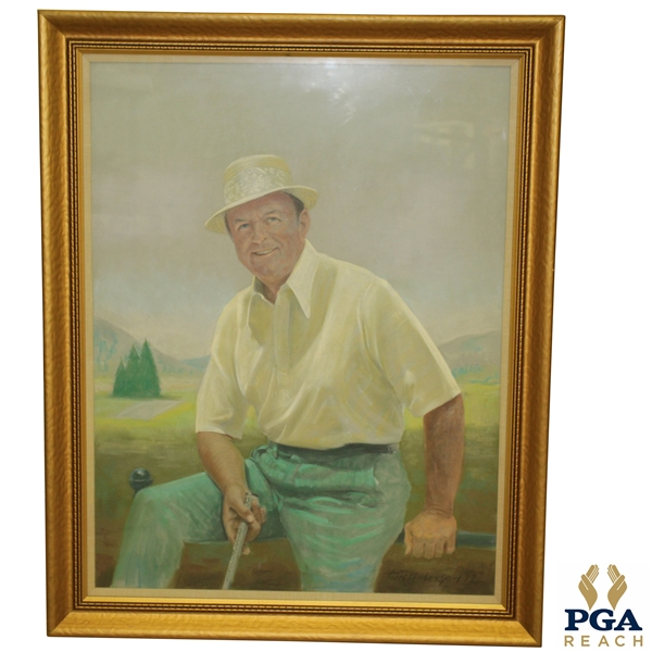 1977 Original Pastel Painting Of Sam Snead by Wilho H. Anderson - Framed