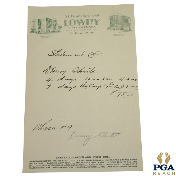 Denny Shute Signed Hotel Receipt from The Lowry St. Paul, Minn. JSA ALOA