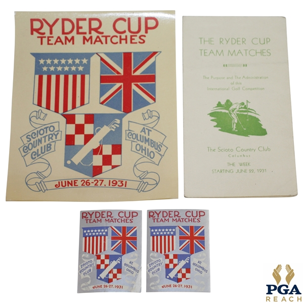 1931 Ryder Cup at Scioto Country Club Logo Sticker, Two Silver Logo Stickers, & Ryder Cup History Booklet