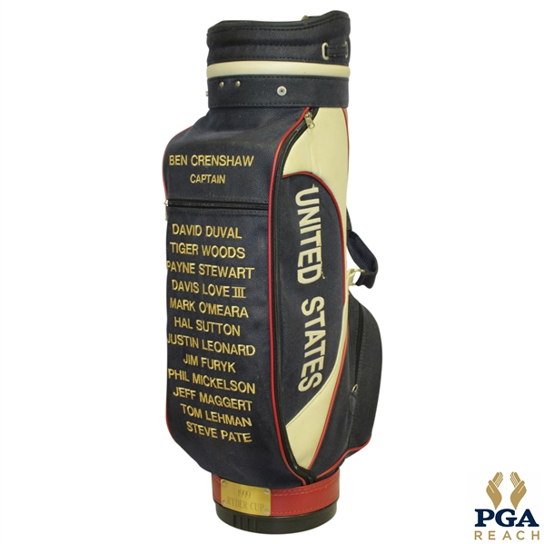 1999 Ryder Cup Commemorative Full Size Golf Bag with Ben Crenshaw Captain & Team Members Stitched