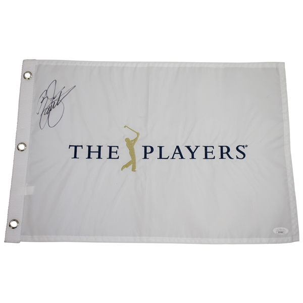 Rickie Fowler Signed The Players White Embroidered Flag JSA #GG76820