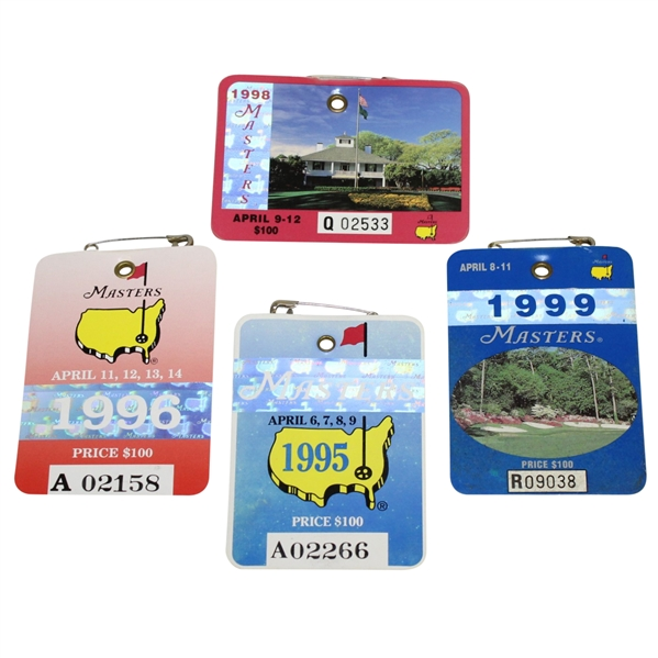 1995, 1996, 1998, & 1999 Masters Tournament Series Badges - Crenshaw, Faldo, O'Meara, & Olazabal