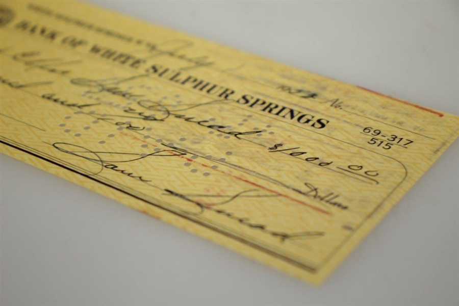 Sam Snead Signed 1953 Personal $1000 Check to His Wife JSA ALOA