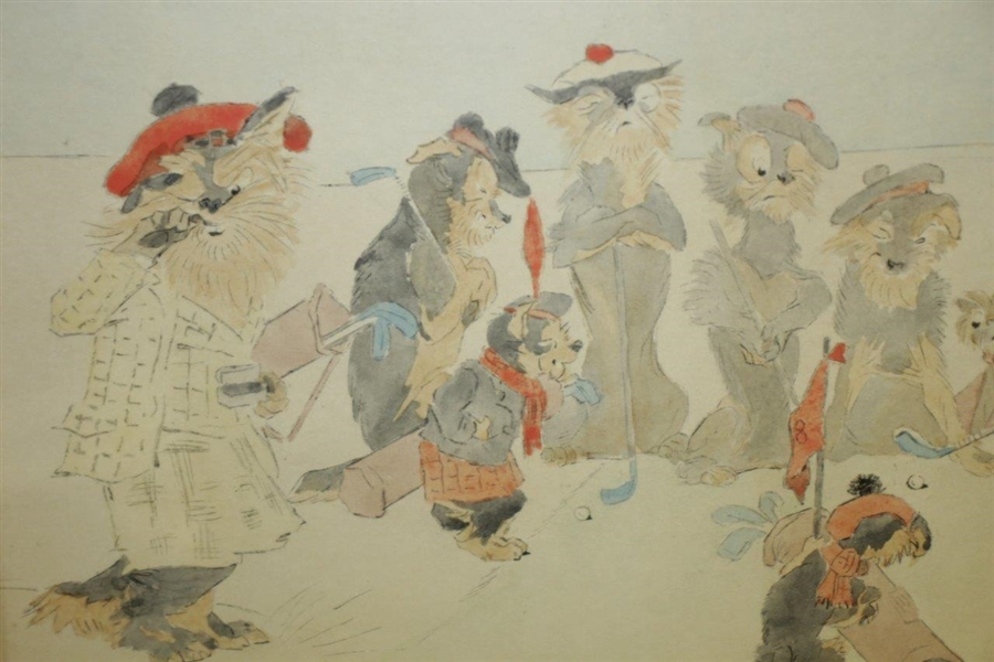 'The Old Scotch Terriers' Original Pencil And Gouache On Paper Signed by Artist JAS