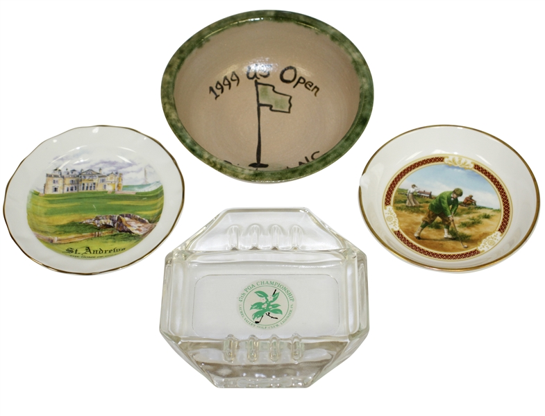 Golf Themed Bowls & Ashtrays from St Andrews, PGA Champ & US Open