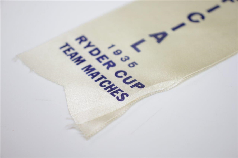 1935 Ryder Cup at Ridgewood Country Club Officials Badge & Ribbon - Seldom Seen