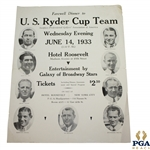 1933 U.S. Ryder Cup Team Farewell Dinner at Hotel Roosevelt Poster