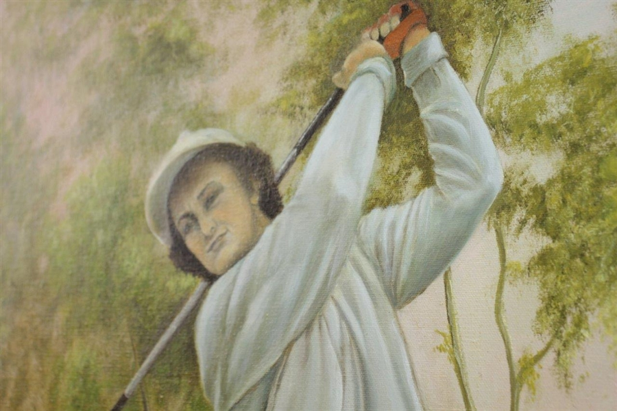 1974 Babe Didrikson Zaharias Oil On Canvas Painting Signed by Artist Betty Magner