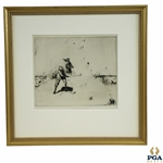 Vintage Golf The Sand Bunker Etching Signed in Pencil by Artist John R. Barclay