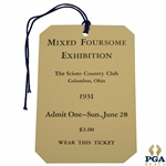 1931 Mixed Foursome Exhibition at The Scioto Country Club Sunday Ticket - Excellent Condition