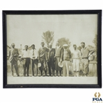 Early Golfers and Caddies Photo including Horton Smith - Framed