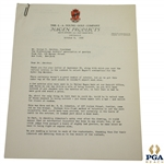 1935 Hagen Products Letter to PGAs Jacobus Regarding Hagens Nominations for Ryder Cup Matches