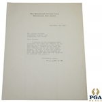 1935 Ridgewood CC Letter to PGAs Jacobus Asking Not to List Caddy Numbers So Programs Can Sell