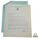 Craig Wood Signed 1941 Ryder Cup Team Captain Response Letter to Ed Dudley JSA ALOA