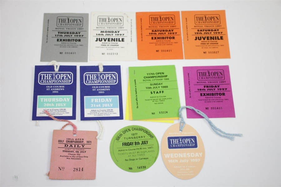 Seventeen Assorted OPEN Championship Admission Tickets - 1971-1999