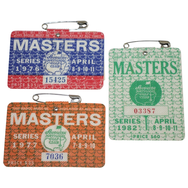 1976, 1977, & 1982 Masters Tournament Series Badges #15425, #7036, & #03387