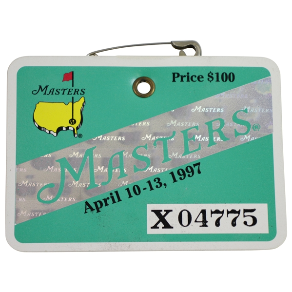 1997 Masters Tournament Series Badge #X04775 - Tiger Woods First Green Jacket