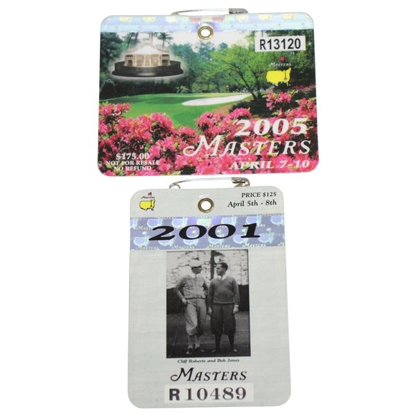 2001 & 2005 Masters Tournament Series Badges #R10489 & #R13120 - Tiger Woods Wins