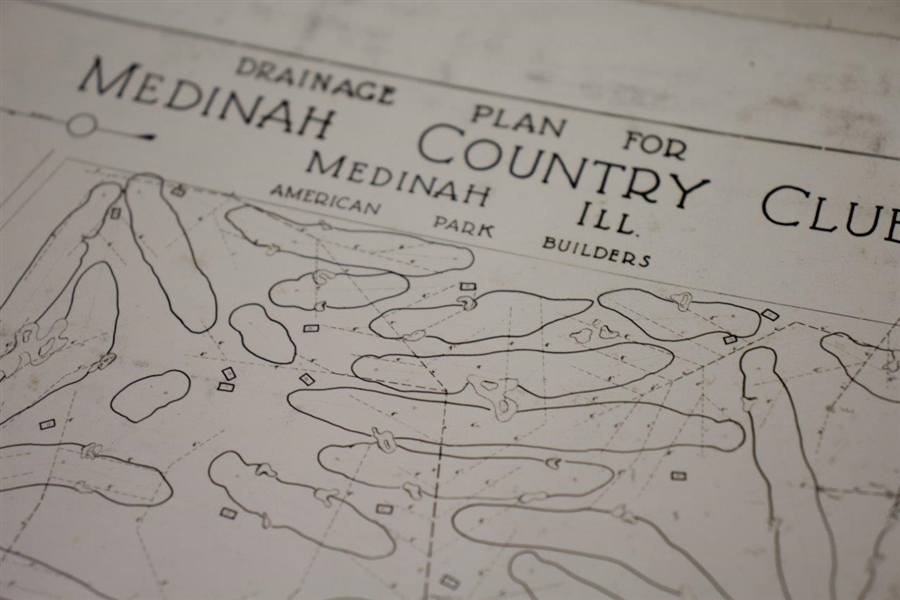 1920's Medinah Country Club Drainage Plan Photo - Wendell Miller Collection