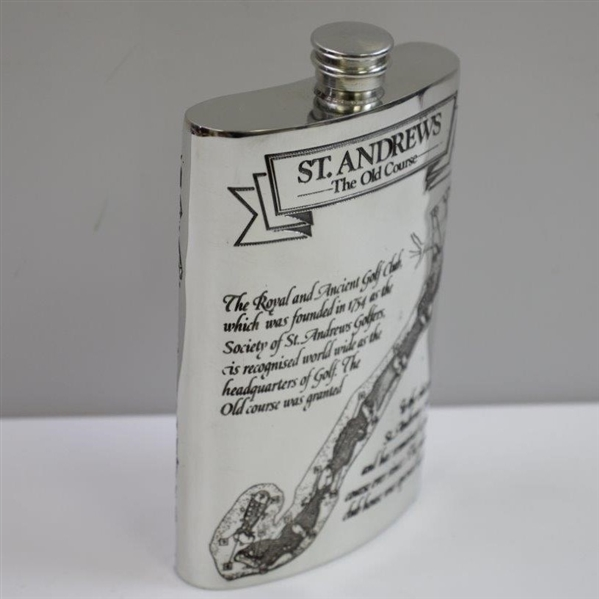 St. Andrews 'The Old Course' Pewter Flask with Course Layout - Excellent Condition with Original Funnel & Box