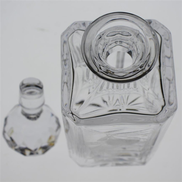 Classic Edinburgh Crystal Liquor Decanter with Etched Pre-Swing Golfer - Includes Glass Stopper