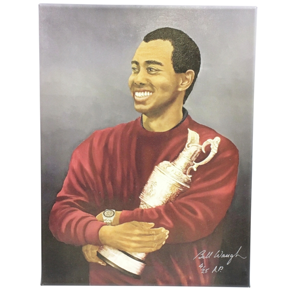 Tiger Woods with Claret Jug Ltd Ed Canvas Print by Bill Waugh #4/25