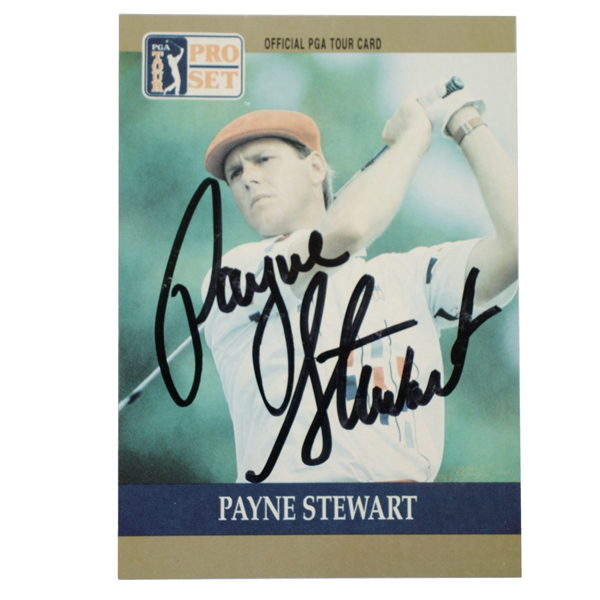 Payne Stewart Signed 1990 PGA Tour Pro-Set Golf Card JSA ALOA